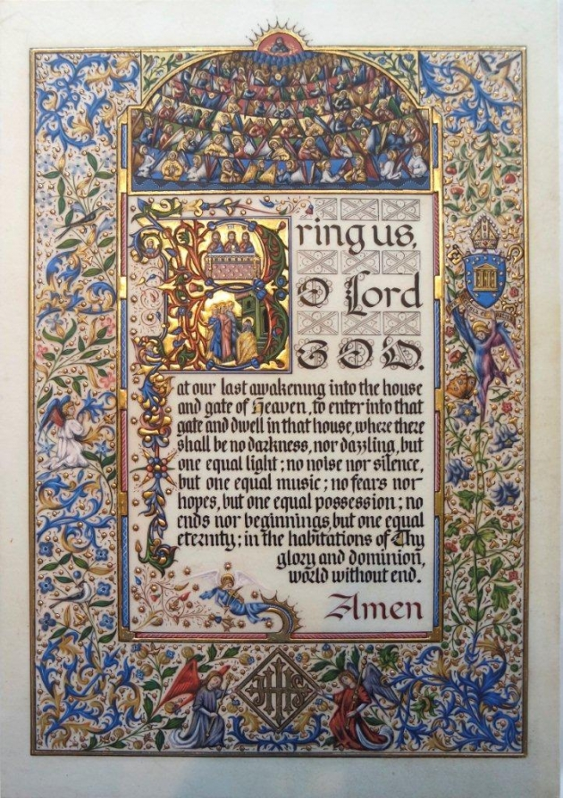 Illuminated page of remembrance on vellum